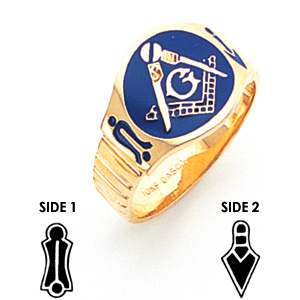 10kt Yellow Gold Oval Blue Lodge Enamel Ring