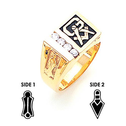 14kt Yellow Gold 2/5 ct tw Diamond Masonic Ring