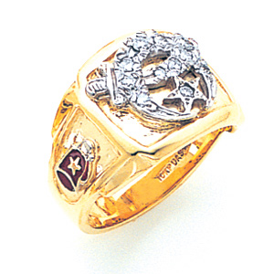 14kt Yellow Gold Shrine Ring with Diamonds