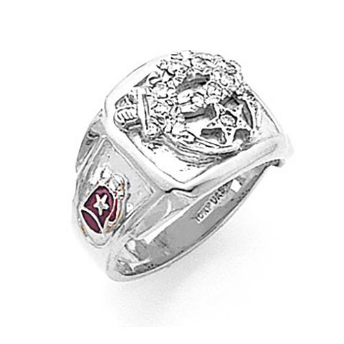 10kt White Gold Shrine Ring with Diamonds