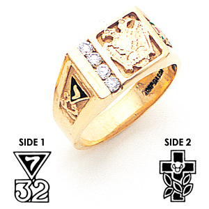 Scottish Rite Ring with Diamonds - 14k Gold