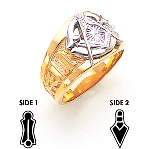 14kt Two-tone Gold Masonic Ring with Oversize G
