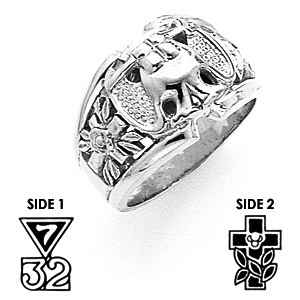 10kt White Gold Jumbo Scottish Rite Ring