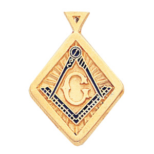 10kt Yellow Gold 7/8in Diamond-shaped Masonic Pendant