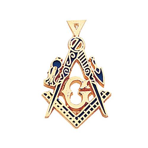 14kt Yellow Gold 1in Masonic Regalia Pendant