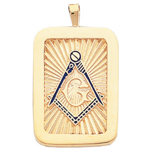 10kt Yellow Gold 1 1/4in Masonic Pendant with Blue Enamel