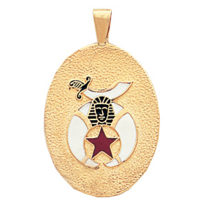 10kt Yellow Gold 1in Shrine Masonic Pendant