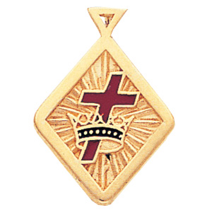 3/4in Masonic Cross and Crown Pendant - 14k Gold