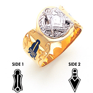 14kt Two-tone Gold Masonic Ring with Decorative Shank
