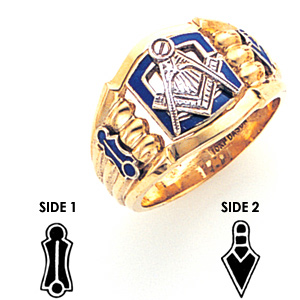 14kt Yellow Gold Ornate Masonic Ring with Oversize Blue G