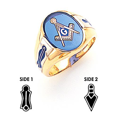 Oval Goldline Blue Lodge Ring - 10k Gold