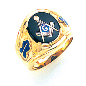 10kt Yellow Gold Large Blue Lodge Ring with Oval Stone
