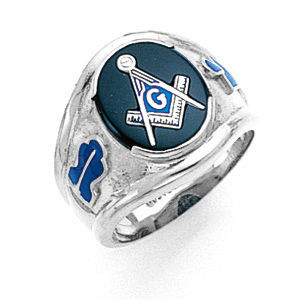 14kt White Gold Large Blue Lodge Ring with Oval Stone
