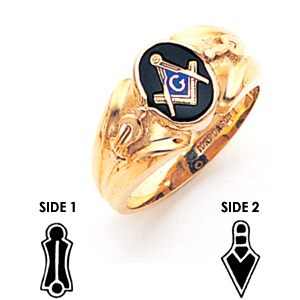 14kt Yellow Gold Goldline Masonic Ring with Small Oval Stone