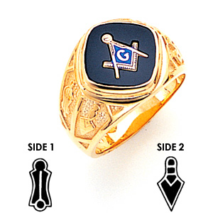 Square Goldline Blue Lodge Ring - 14k Gold