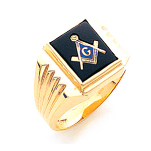 14kt Yellow Gold Goldline Masonic Ring with Ribbed Shank