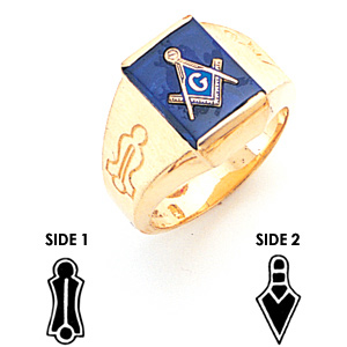 Rect Goldline Blue Lodge Ring - 14k Gold