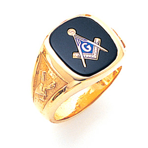 14kt Yellow Gold Jumbo Goldline Blue Lodge Ring