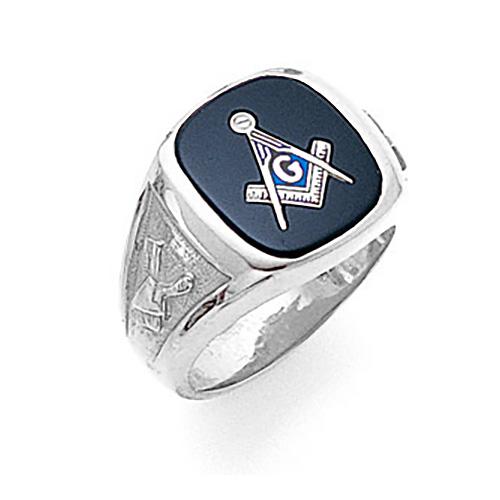 10kt White Gold Jumbo Goldline Blue Lodge Ring
