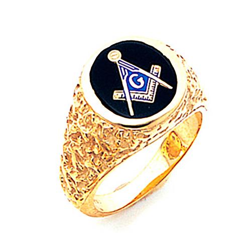 Nugget Blue Lodge Ring - Jumbo 10k Gold