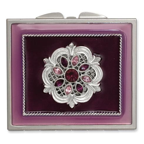 Silver-tone Steel Purple Enameled Purple Crystal Rectangular Compact