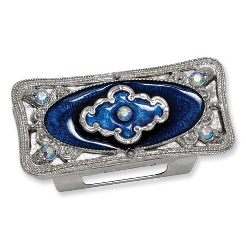 Silver-tone Blue Enameled Lipstick Holder
