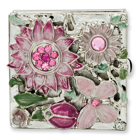 Silver-tone Textured Pink Enameled Floral Square Brass Pillbox