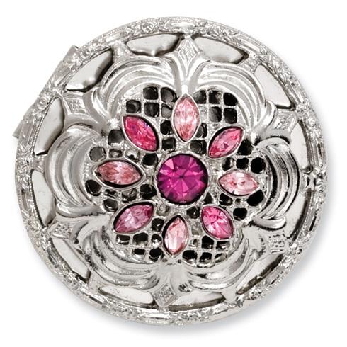 Silver-tone Textured Rose LightRose Crystal Round Brass Pillbox