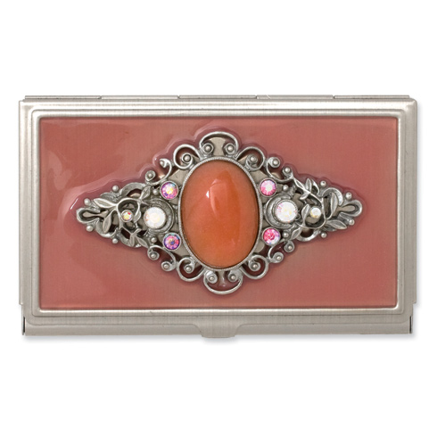 Steel Peach Enameled and Strawberry Qtz Business Card Holder
