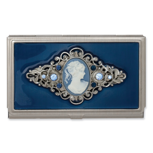 Steel Blue Enameled and Cameo Business Card Holder