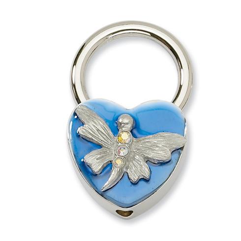 Silver-tone Dragonfly with Crystals Blue Enamel Key Fob