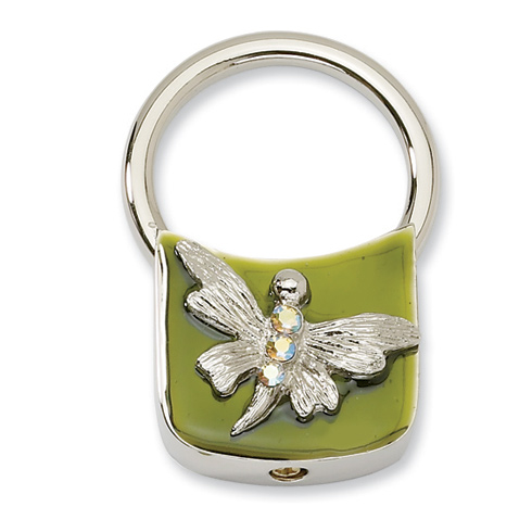 Silver-tone Dragonfly with Crystals Olive Enamel Key Fob