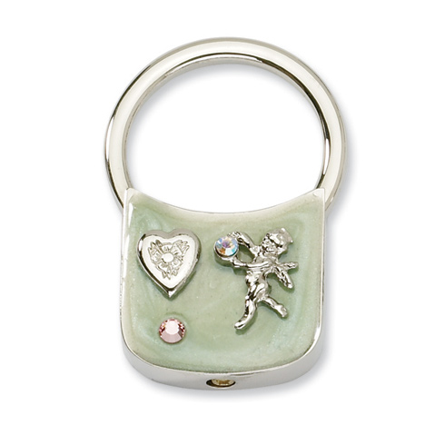 Silver-tone Angel with Crystals Light Green Enamel Key Fob