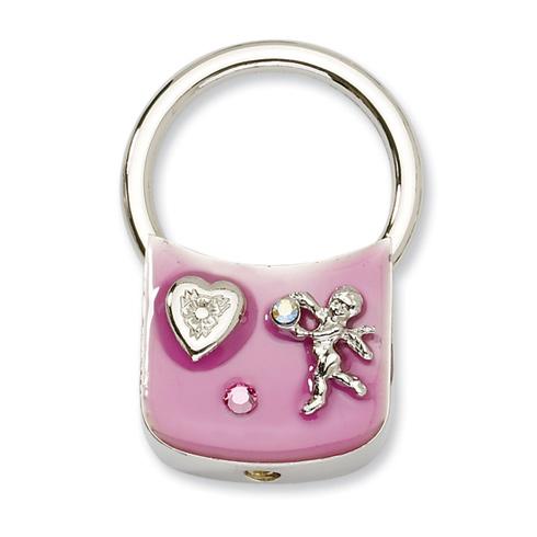 Silver-tone Angel with Crystals Pink Enamel Key Fob