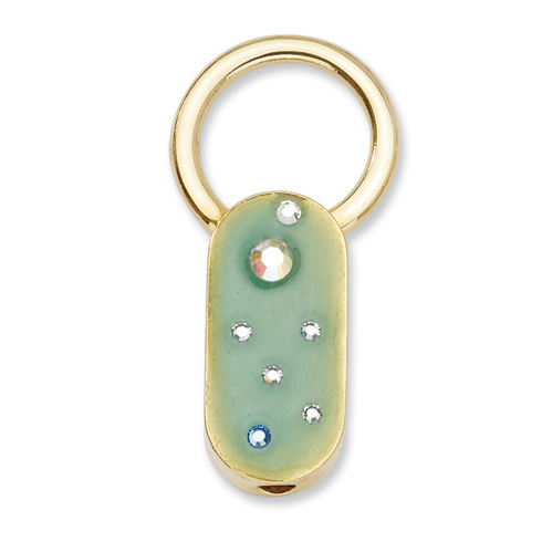 Gold-tone Green Enamel with Crystals Key Fob