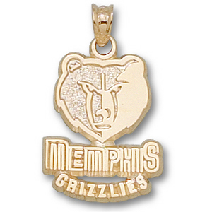 14kt Yellow Gold 5/8in Memphis Grizzlies Logo Pendant