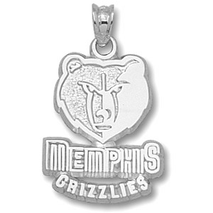 Sterling Silver 5/8in Memphis Grizzlies Logo Pendant