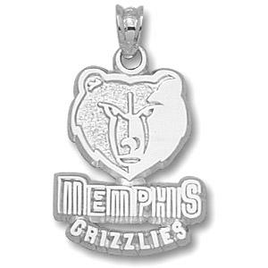 Sterling Silver 5/8in Memphis Grizzlies Logo Pendant