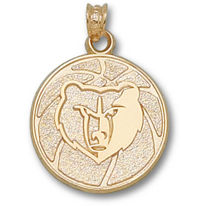 14kt Yellow Gold 3/4in Memphis Grizzlies Basketball Pendant