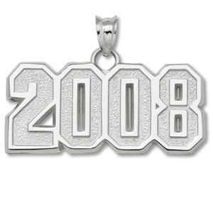 Sterling Silver 1/2in 2008 Block Pendant