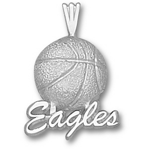 Sterling Silver 3/4in Georgia Southern Basketball Pendant