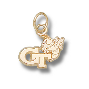 Georgia Tech Yellow Jackets 3/8in 14k GT Buzz Pendant