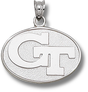 Georgia Tech Yellow Jackets 5/8in Sterling Silver Oval Pendant