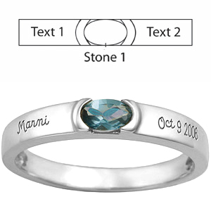 Sterling Silver Halo Mother's Ring