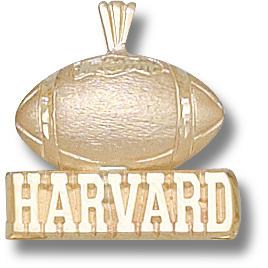 10kt Yellow Gold 5/8in Harvard Football Pendant