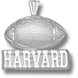 Sterling Silver 5/8in Harvard Football Pendant