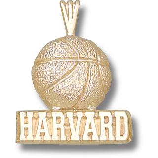 Harvard 3/4in Basketball Pendant 10kt Yellow Gold