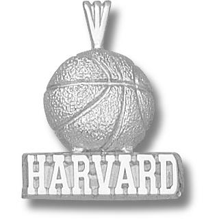 Harvard 3/4in Basketball Pendant Sterling Silver