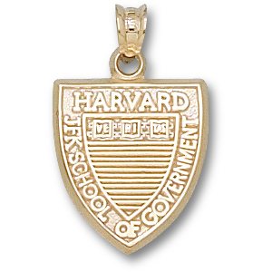 Harvard 5/8in Shield Pendant 10kt Yellow Gold