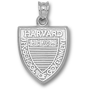 Harvard 5/8in Shield Pendant Sterling Silver